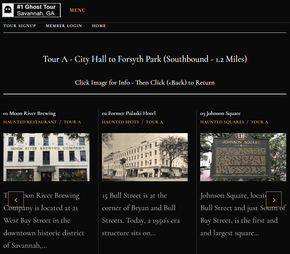 #1 Ghost Tour Scrolling List