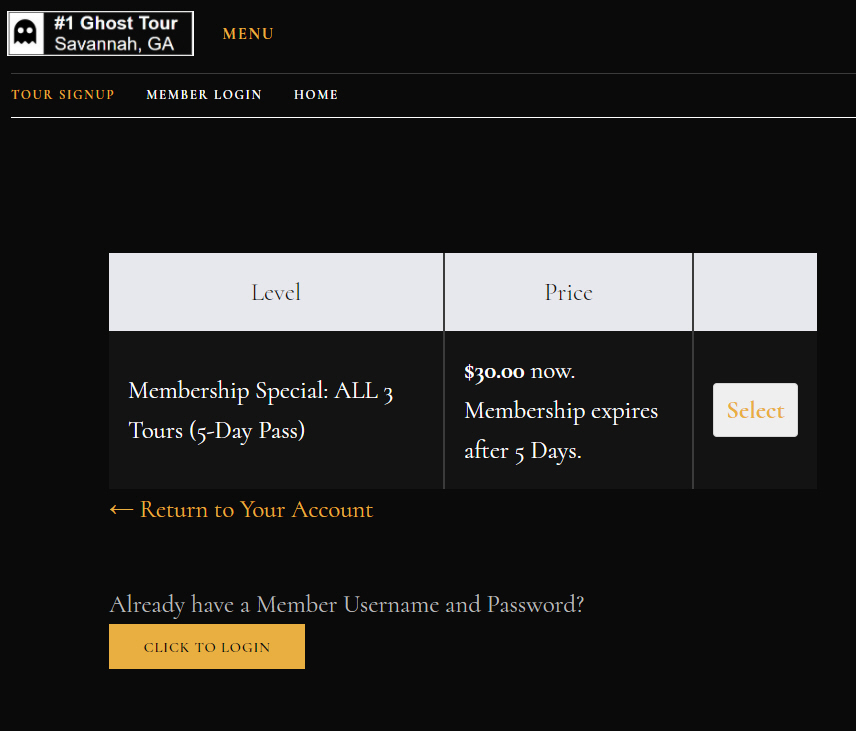 #1 Ghost Tour Signup